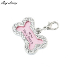 Pet Collars Pendant 30*20mm Fashion Bone Rhinestone Identity Card Heart Pendant Pearl Pet Jewelry Fancy Name Pendants D17