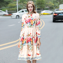 Hundred Flowers Contend In Beauty Spring Summer New European Women Long Sleeve A-line  Slim Wasit Dress