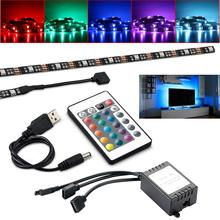 RGB 5050SMD 5V 15 LED Strip Light USB Power TV Backlighting With 24Key Remote Control Set  IP65 Waterproof