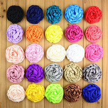 "50pcs/lot 25 Color 3"" Stain Silk Rosebud Flowers Handmade Rolled Puff  Rosette Hair Accessories Boutique Supply FH39"