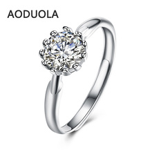 925 Silver adjustable chrysanthemum Ring with Cubic zirconia Women's free Rings Jewelry For Female Love Engagement Wedding Gift(China)
