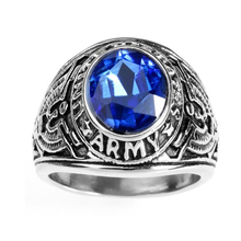 Wholesale Men's  Balck United States Army Ring,Stainless steel Vintage US Military Band Ring with Glass,Party Jewelry