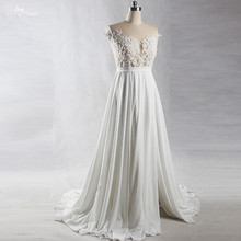 Buy RSW1382 Yiaibridal Real Job Photos Maternity Pregnant Illusion Back Cap Sleeves Chiffon Open Split Skirt Beach Wedding Dress for $245.10 in AliExpress store