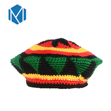 Miya Mona 1pc Fashion Rasta Knit Hat Casual Women Handmade Crochet Reggae Cap Skullies Red Yellow Green Striped Wave Hats