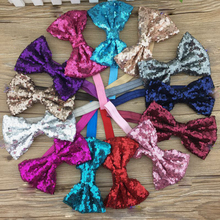 25pcs/lot 5inch Embroidered Sequin Hair Bows With Elastic Headband Kids Sequin Bows Hairbands Hair Accessories