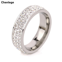 white fashion 3 row CZ crystal full rhinestone ring jewelry stainless steel rings for women tail rings best selling charm female