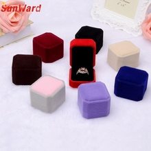 1pcs Squre Wedding Velvet Earrings Ring Box Jewelry Display Case Gift boxes Amazing 2017 New(China)