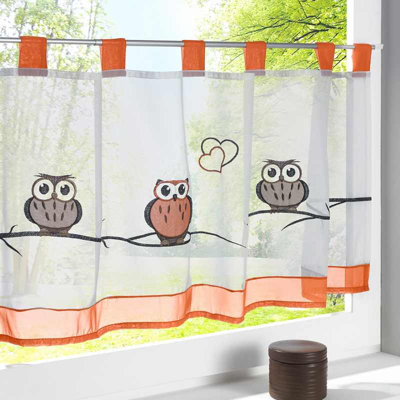 Urijk Embroidery Half-curtain Owl/Flower Print Rural Kitchen Short Cabinet Curtains Small Rideau Cafe Window Curtain 1 PCS