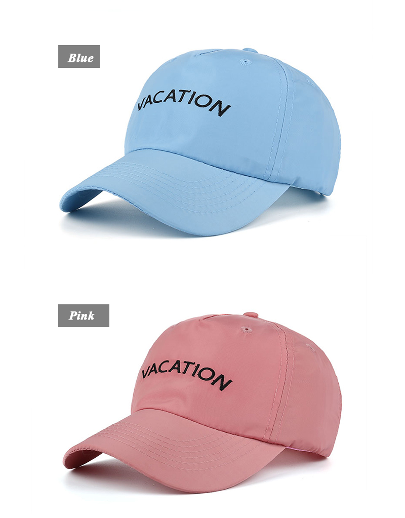 "Embroidered ""Vacation"" Baseball Cap - Blue Cap and Pink Cap"