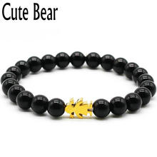 Cute Bear Bracelet For Women Jewelry Stainless Steel Little Girl 8 mm Black Natural Stone Beads Charm Bracelets La Sra Pulsera