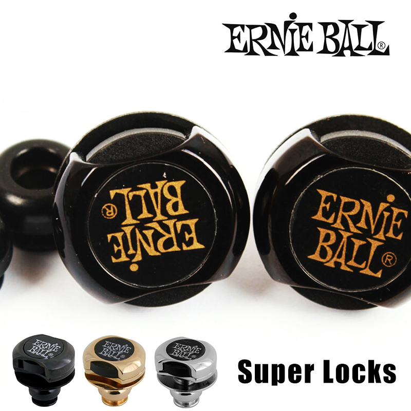 Original Ernie Ball Super Locks/ Guitar Strap Locks, Black/ Gold/Nickel<br>