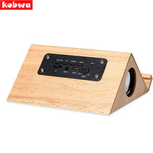 Wooden Speaker Bluetooth Wireless Speaker Unique Triangle Wood Portable Desk Computer Loudspeaker with Mic TF Card Phone Holder