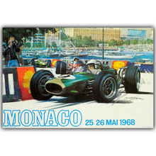 Monaco Grand Prix 1968 Cars Poster Custom Home Decoration Fashion Silk Canvas Fabric Wall Poster Car Design Wallpaper YL057
