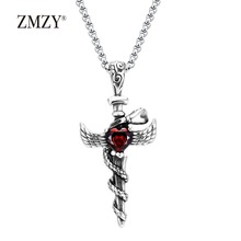 ZMZY Vintage Stainless Steel Sword Angel Heart Red Zircon Crystal Pendant Necklace Fashion Punk Style Jewelry Dropshipping