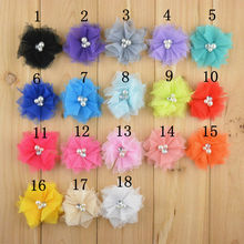 "100pcs/lot 18 Color 2"" Mini Tulle Mesh Chiffon Flowers Rhinestone Pearl In Center DIY Craft Boutique Hair Accessories F27(China)"