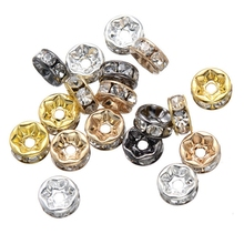 100pcs/lot Metal Silver/Gold/Gun Black Plated Crystal White Rhinestone Spacers 7MM Round Beads DIY Jewelry Bracelet Accessories(China)