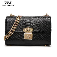 2016 New Chains Women Bags Brand Crocodile Woman Shoulder Bag Fashion Ladies Leather Crossbody Bags Celebrity Handbag Summer S08