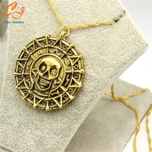 Pirates of the Caribbean Aztec gold necklace Men's skull necklace pendant
