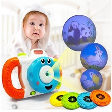 2016 New Multifunctional cartoon Projection camera baby toy early education Music lights Creative gift toys for children