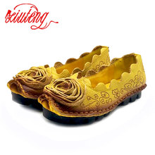 Xiuteng 2017 Handmade Genuine Leather Shoes flat Flowers Single Shoes National Wind Comfortable Soft Bottom Summer Peas Shoes