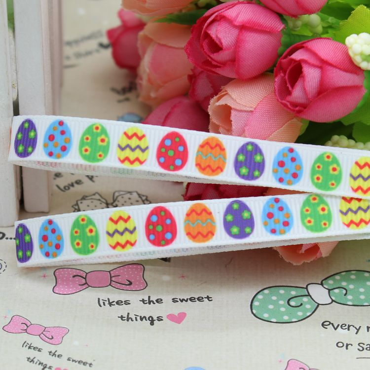 3/8inch Free shipping easter egg printed grosgrain ribbon hairbow diy party decoration wholesale OEM 9mm P2371(China (Mainland))