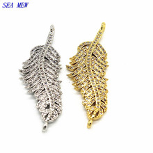 15mm*41mm Fashion Style Copper Crystal Rhinestone Feather Connectors Pendant 3 Colors Plated For Women DIY Jewelry Making(China)