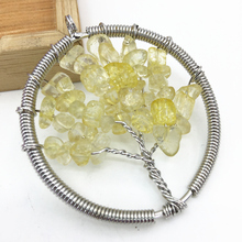 Delicate handmade 50mm yellow crystal irregular chip gravel round pendant silver-color health lucky energy women jewelry B3056(China)