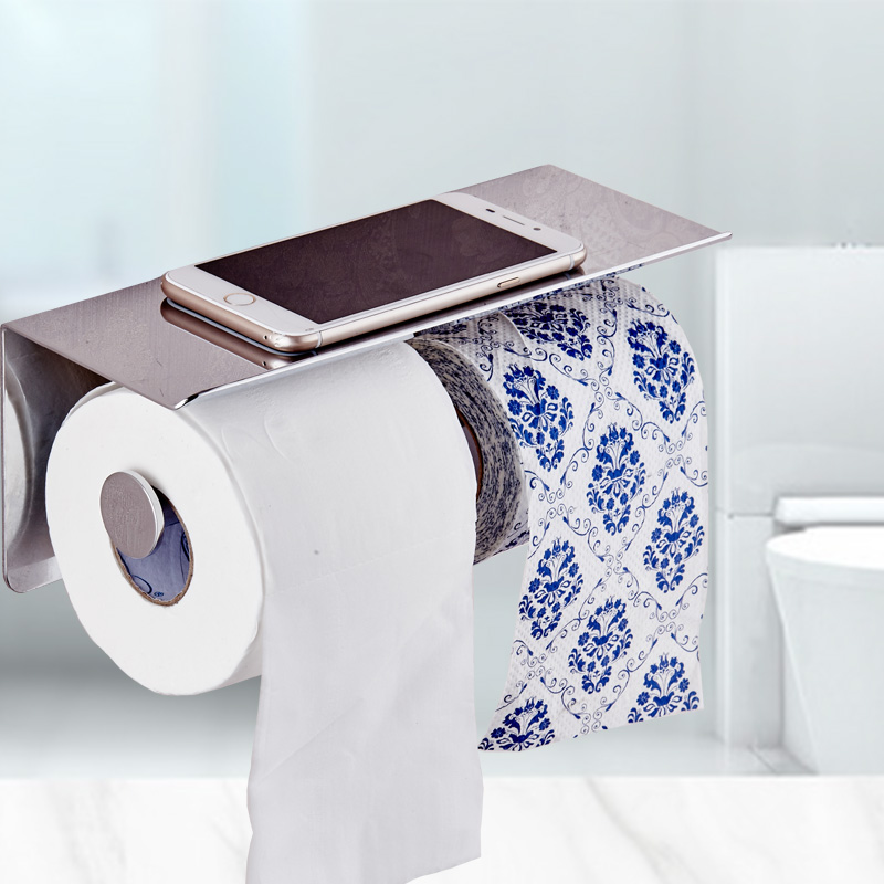 Bathroom 304 stainless steel double toilet paper, bathroom, mobile phone rack, toilet roll, paper box, paper towel, roll paper r<br>