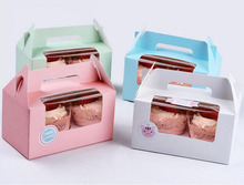 Free DHL 100pcs/lot Card Paper Party Cupcake boxes Cake Packaging Boxes holder 2pcs cupcake with handle muffin box