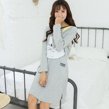 100% Cotton Nightgown For Women Spring Autumn Long Sleeve Dress Night Gown Female Cute Cartoon Nightdress Sleepwear Home Clothes(China)