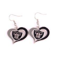 New Arrival sporty earring with Oakland Raiders Football Team Logo swirl heart charm heart pendant