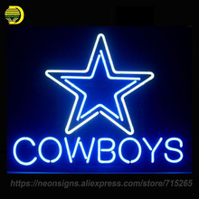Neon Signs For New COWBOYS Unique Artwork Star Neon Bulbs Sign Handcraft Recreation Room Home pUB Neon Light LampS Advertisement(China)