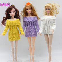 1pc hot sale handmade knitted wools coat dress for Barbie girl dolls, 3 colors assorted, yellow, purple, white