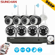 SUNCHAN 8CH CCTV System Wireless 960P NVR 8PCS 1.3MP IR Outdoor P2P Wifi IP CCTV Security Camera System Surveillance Kit w/HDD