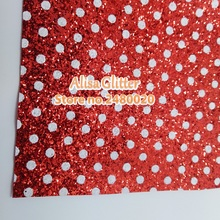 3PCS 21x29cm Glitter Leather for Christmas Printed white DOTS on RED Glitter Leather, soft Stretch Glitter Leather fabric C02C(China)
