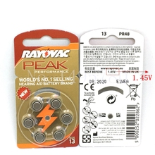 60 PCS NEW Zinc Air 1.45V Rayovac Peak Hearing Aid Batteries A13 13A 13 P13 PR48 Hearing Aid Battery For hearing aids(China)