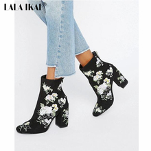 LALA IKAI Retro Embroider Ladies Ankle Boots Fashion Square Heel Women's Winter Boots Floral High Heel Shoes 040N1346-4(China)