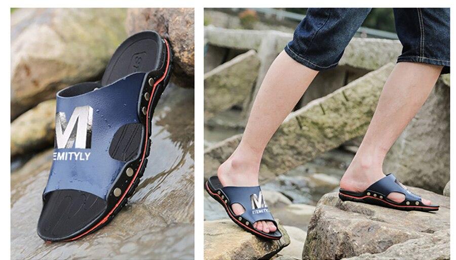 Plus Size Summer Slippers Outdoor Men Casual Sandals Beach Shoes Split Leather Non-Slip Flip Flops Mens Flats Euro 38-45 DR007 15 Online shopping Bangladesh