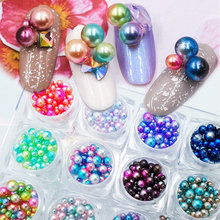 New 12 boxes/set Nail art Mermaid Symphony Pearls set 3d ball pearls 12 colors mixed Japanese style Nail Art DIY Decoration kit