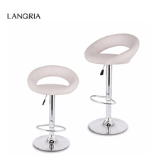 2pcs LANGRIA Gas Lift Height Adjustable Swivel Faux Leather Bar Stools Chairs with Crescent Shaped Backrest Chromed Base