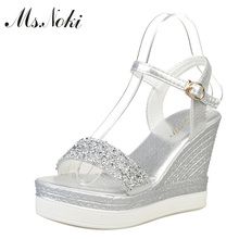 Ms.Noki high heels sandals women shinning glitter silver gold platform wedges 2017 summer ladies open toe casual shoes pumps(China)