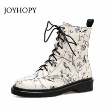 JOYHOPY 2017 Fashion Retro Printing Ankle Boots Women Low Heel Lace Up Martin Boots British Style Graffiti Shoes Woman AWB0034(China)