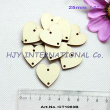 "(150pcs/lot) 25mm 2 holes Unfinished Natural Wooden Heart Cutouts For Crafts Projects Supplies 1""-CT1083B"
