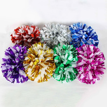 Free Shipping.130g,Cheering cheerleader metallic pompom white plastic pom pom with baton handle,Pom Pom,Cheerleading products