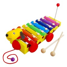 Colorful Musical Toys Crocodile/Dog/Fish Pull Octave Hand Knock Piano Instrument Infant Educational Baby Playing Type Toy