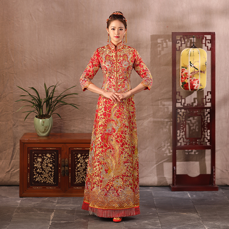 Noble Dragon&Phoenix Qipao Chinese Women Marriage Suit Exquisite Rhinestone Cheongsam Bride Wedding Dress Embroidery Gowns