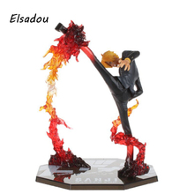 "Elsadou Cool 6.8"" One Piece Anime Black Leg Sanji Fire Battle Version PVC Actiong Figure Collection Model Toy Gift(China)"