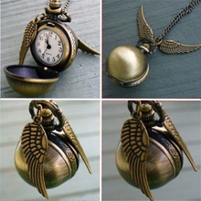 Hot Selling Harry Potter Round Pocket Watch Pendant Necklace Retro Snitch Steampunk Quidditch Wing Clock Sweater Necklaces BA293