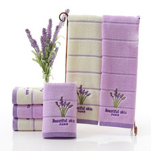 34*75cm Embroidery Romantic Lavender Towels Cotton Beach Towel Washcloths For the pool Napkins Kitchen Towel Toalha De Banho(China)