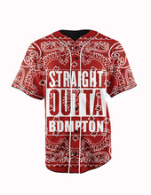 Real American Size  straight outta  3D Sublimation Print Custom made Button up baseball jersey plus size